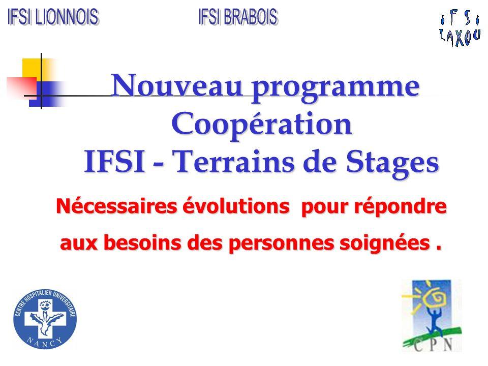 Nouveau programme Coopération IFSI - Terrains de Stages Nouveau programme Coopération IFSI - Terrains de Stages Nécessaires évolutions pour répondre a