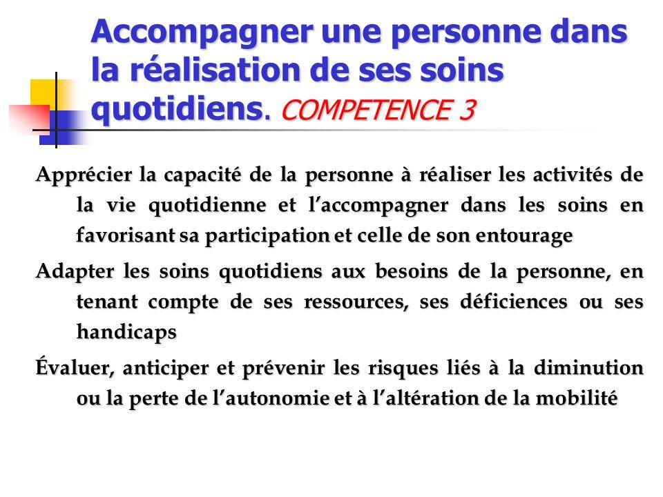 Accompagner une personne dans la réalisation de ses soins quotidiens. COMPETENCE 3 Apprécier la capacité de la personne à réaliser les activités de la