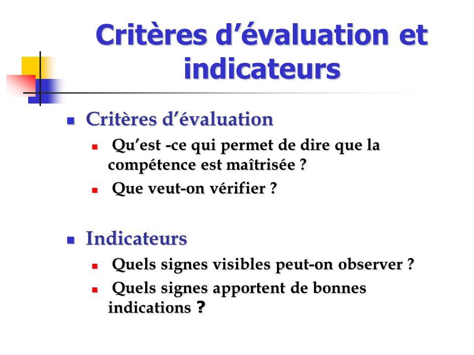 Critères dévaluation et indicateurs Critères dévaluation Critères dévaluation Quest -ce qui permet de dire que la compétence est maîtrisée ? Quest -ce