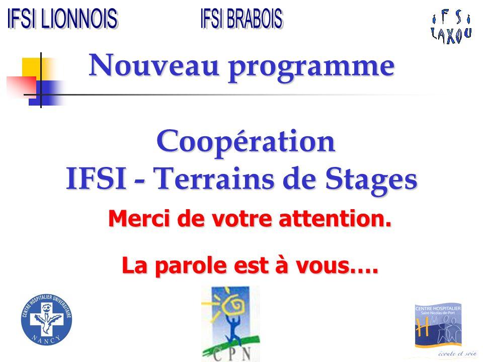 Nouveau programme Coopération IFSI - Terrains de Stages Merci de votre attention. La parole est à vous….