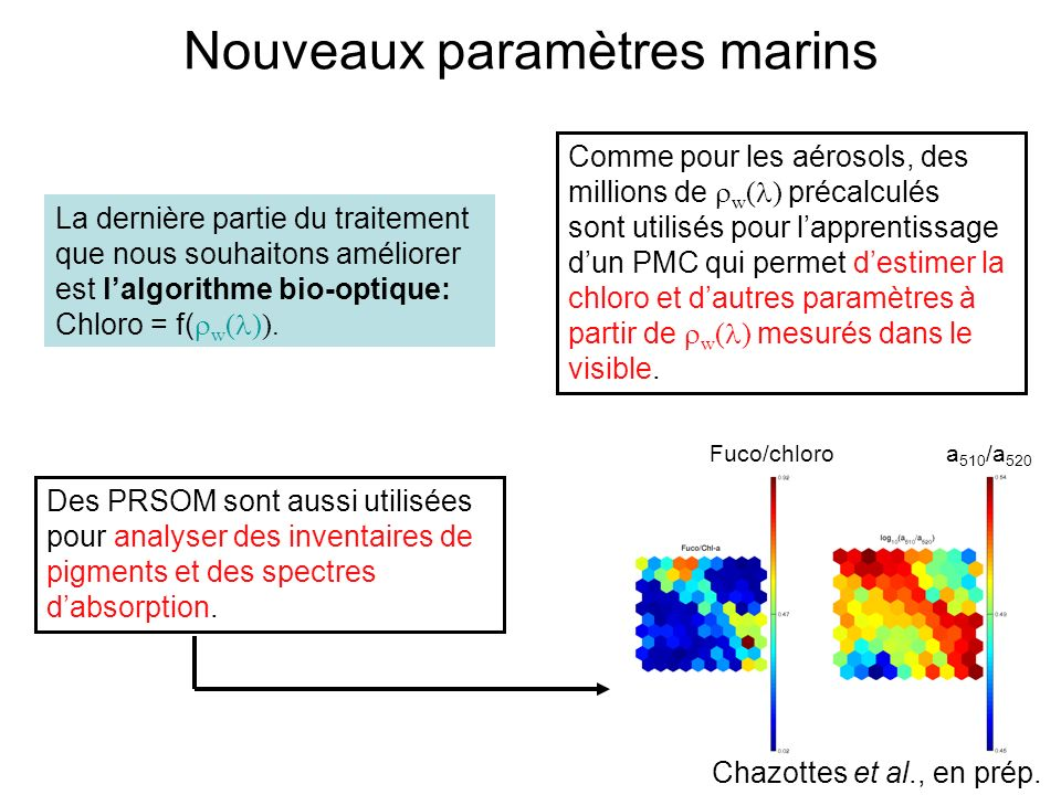 Nouveaux paramètres marins Chazottes et al., en prép. La dernière partie du traitement que nous souhaitons améliorer est lalgorithme bio-optique: Chlo