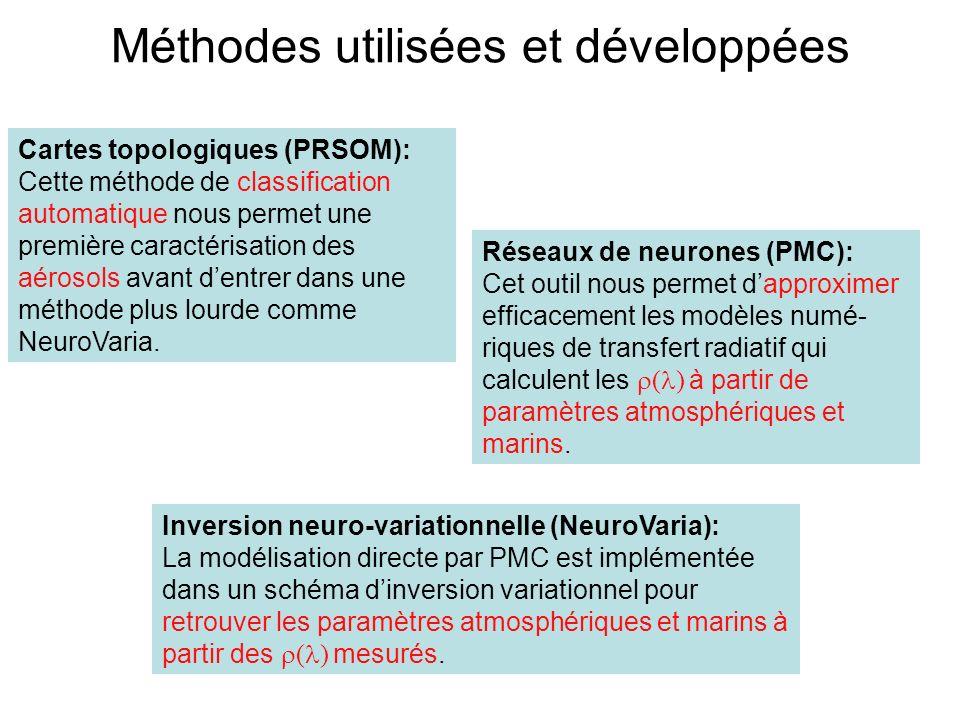 Méthodes utilisées et développées Cartes topologiques (PRSOM): Cette méthode de classification automatique nous permet une première caractérisation de