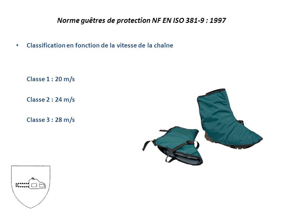 Classification en fonction de la vitesse de la chaîne Classe 1 : 20 m/s Classe 2 : 24 m/s Classe 3 : 28 m/s Norme guêtres de protection NF EN ISO 381-9 : 1997
