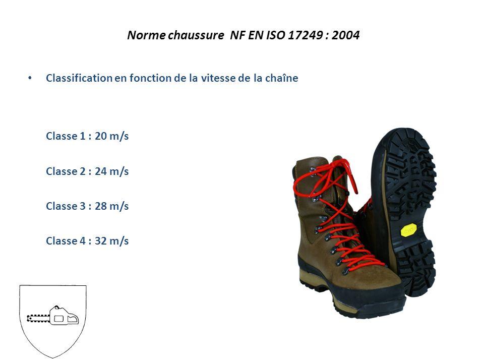 Classification en fonction de la vitesse de la chaîne Classe 1 : 20 m/s Classe 2 : 24 m/s Classe 3 : 28 m/s Classe 4 : 32 m/s Norme chaussure NF EN ISO 17249 : 2004