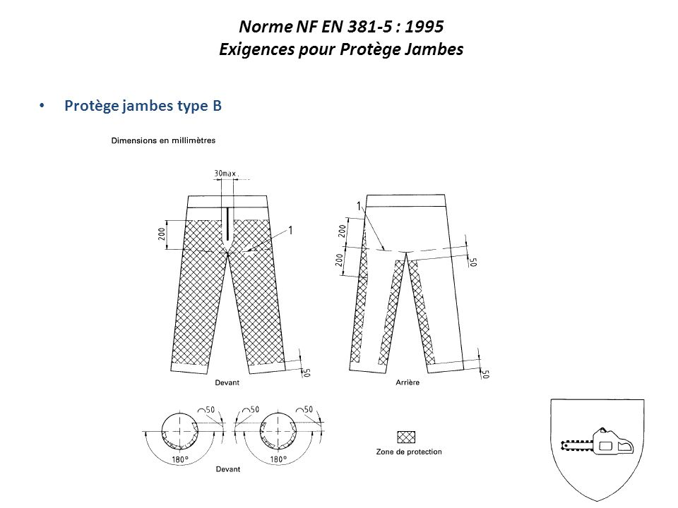 Protège jambes type B Norme NF EN 381-5 : 1995 Exigences pour Protège Jambes
