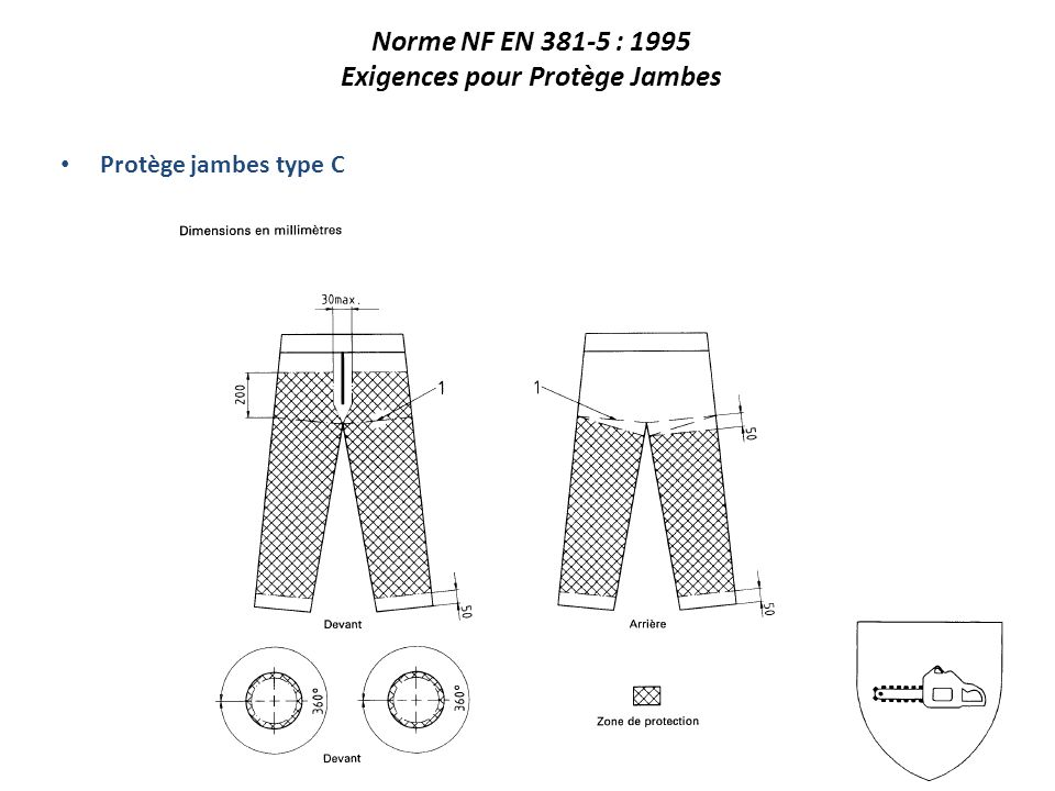 Protège jambes type C Norme NF EN 381-5 : 1995 Exigences pour Protège Jambes