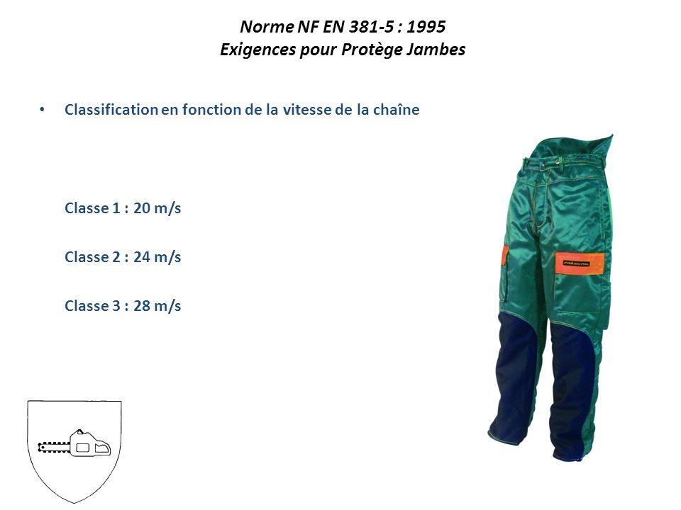 Classification en fonction de la vitesse de la chaîne Classe 1 : 20 m/s Classe 2 : 24 m/s Classe 3 : 28 m/s Norme NF EN 381-5 : 1995 Exigences pour Protège Jambes