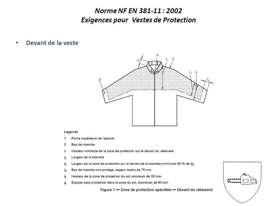 Devant de la veste Norme NF EN 381-11 : 2002 Exigences pour Vestes de Protection