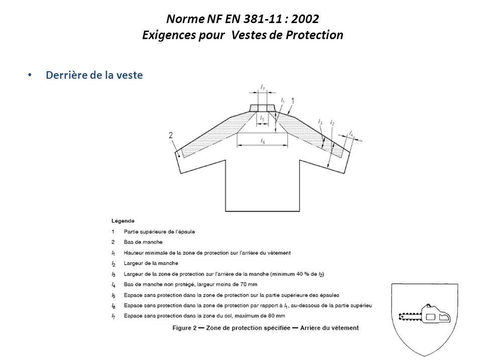 Derrière de la veste Norme NF EN 381-11 : 2002 Exigences pour Vestes de Protection