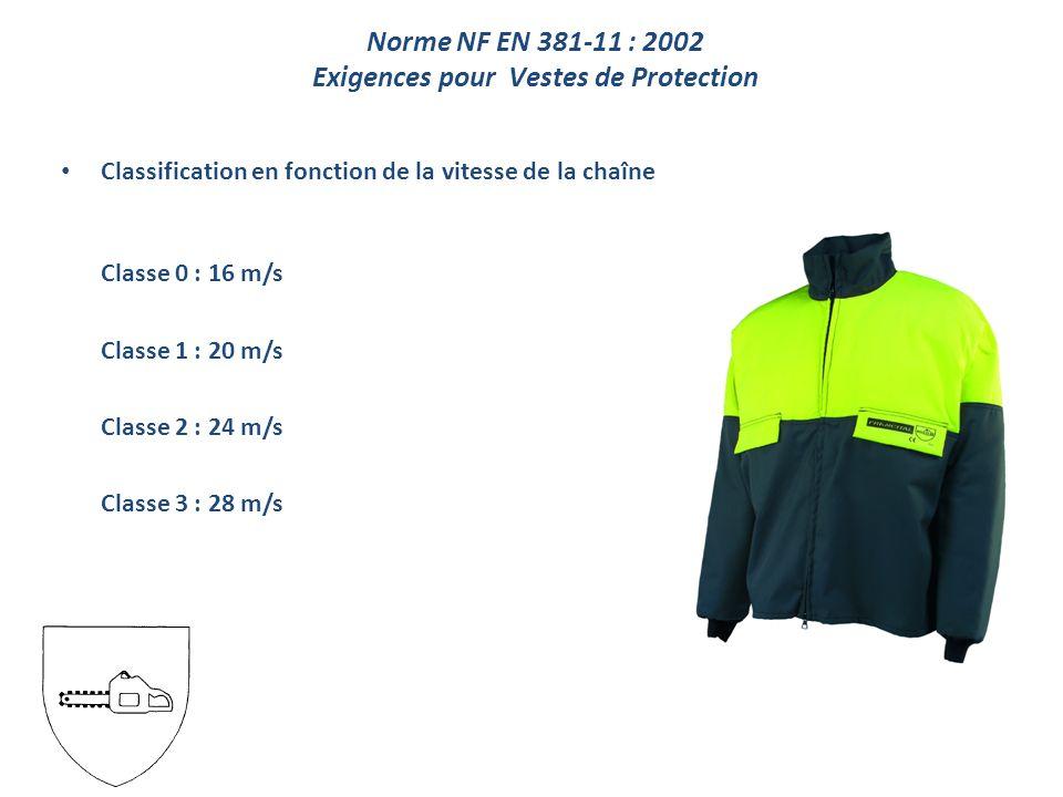 Classification en fonction de la vitesse de la chaîne Classe 0 : 16 m/s Classe 1 : 20 m/s Classe 2 : 24 m/s Classe 3 : 28 m/s Norme NF EN 381-11 : 2002 Exigences pour Vestes de Protection