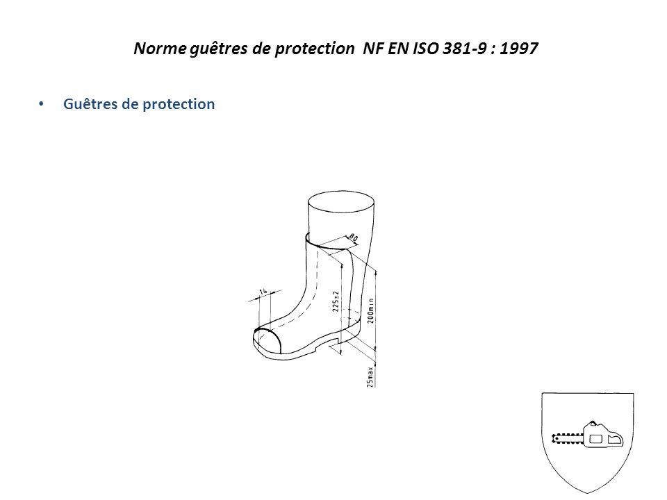 Norme guêtres de protection NF EN ISO 381-9 : 1997 Guêtres de protection