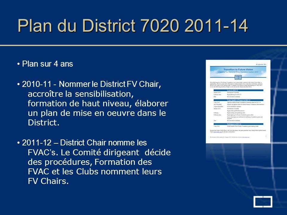 Plan du District 7020 2011-14 Plan sur 4 ans 2010-11 - Nommer le District FV Chair, accroître la sensibilisation, formation de haut niveau, élaborer un plan de mise en oeuvre dans le District.