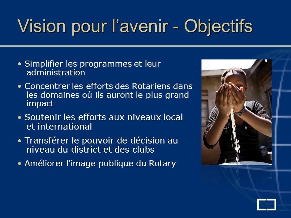 Simplifier les programmes et leur administration Concentrer les efforts des Rotariens dans les domaines où ils auront le plus grand impact Soutenir les efforts aux niveaux local et international Transférer le pouvoir de décision au niveau du district et des clubs Améliorer l image publique du Rotary Vision pour lavenir - Objectifs