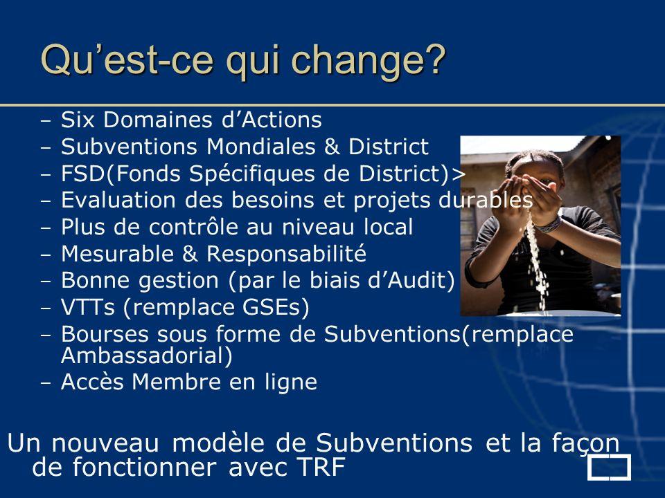 – Six Domaines dActions – Subventions Mondiales & District – FSD(Fonds Spécifiques de District)> – Evaluation des besoins et projets durables – Plus de contrôle au niveau local – Mesurable & Responsabilité – Bonne gestion (par le biais dAudit) – VTTs (remplace GSEs) – Bourses sous forme de Subventions(remplace Ambassadorial) – Accès Membre en ligne Un nouveau modèle de Subventions et la façon de fonctionner avec TRF Quest-ce qui change