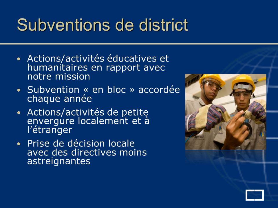 Subventions de district Actions/activités éducatives et humanitaires en rapport avec notre mission Subvention « en bloc » accordée chaque année Actions/activités de petite envergure localement et à létranger Prise de décision locale avec des directives moins astreignantes
