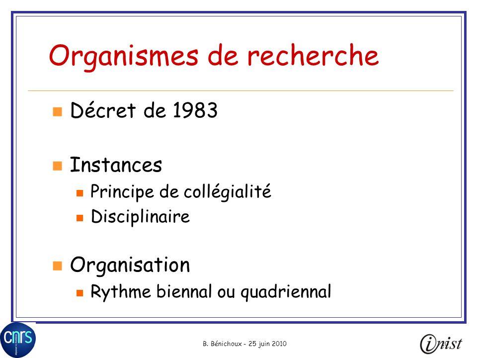 B. Bénichoux - 25 juin 201010 Organismes de recherche Décret de 1983 Instances Principe de collégialité Disciplinaire Organisation Rythme biennal ou q