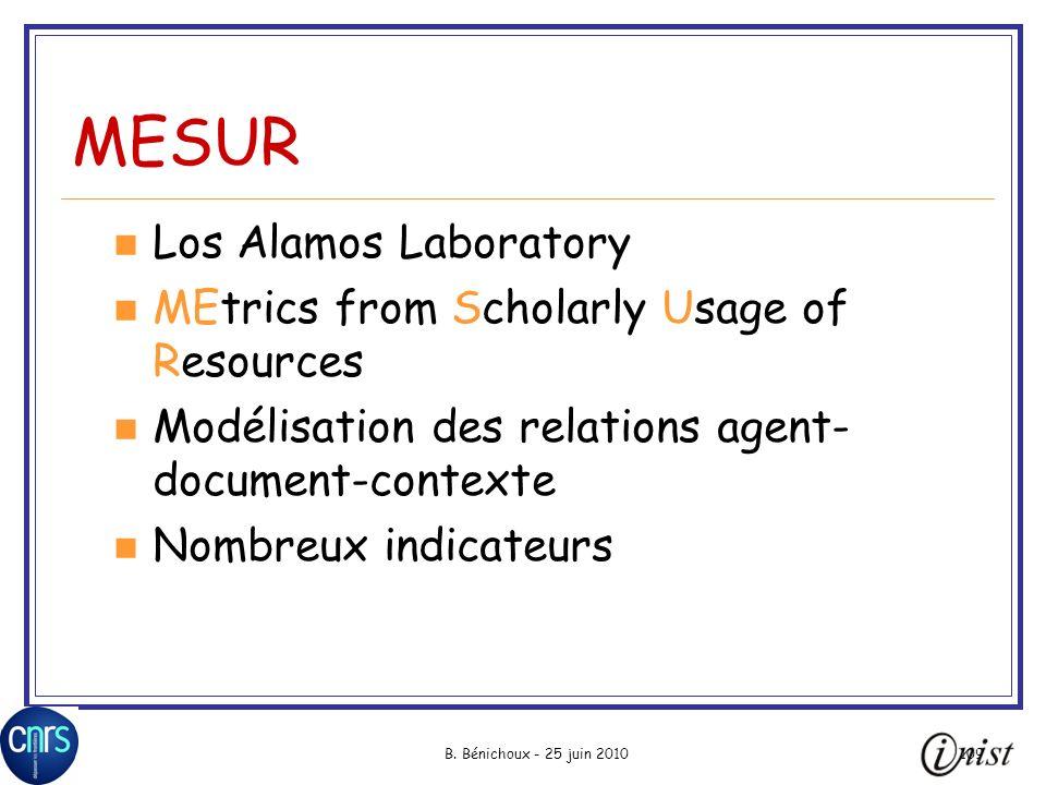 B. Bénichoux - 25 juin 2010109 MESUR Los Alamos Laboratory MEtrics from Scholarly Usage of Resources Modélisation des relations agent- document-contex