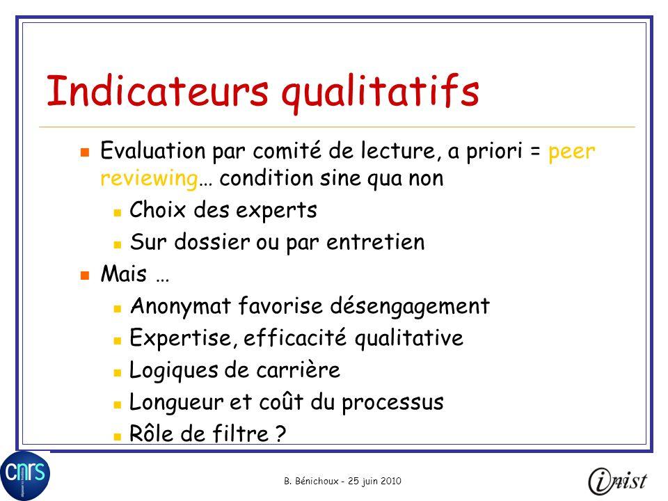 B. Bénichoux - 25 juin 2010110 Indicateurs qualitatifs Evaluation par comité de lecture, a priori = peer reviewing… condition sine qua non Choix des e