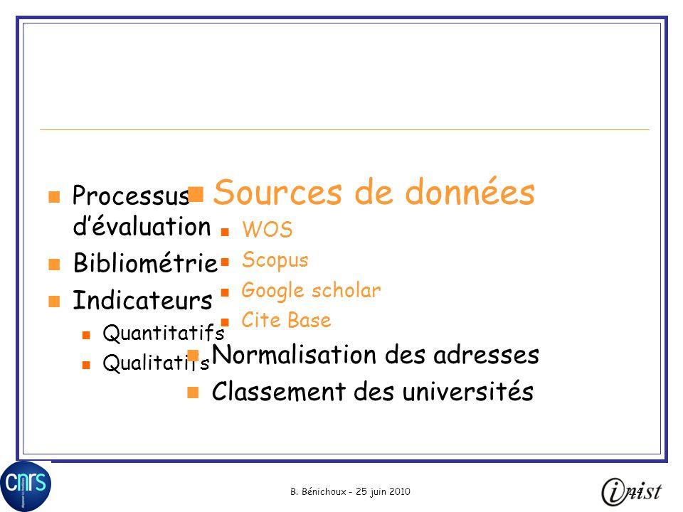 B. Bénichoux - 25 juin 2010114 Processus dévaluation Bibliométrie Indicateurs Quantitatifs Qualitatifs Sources de données WOS Scopus Google scholar Ci