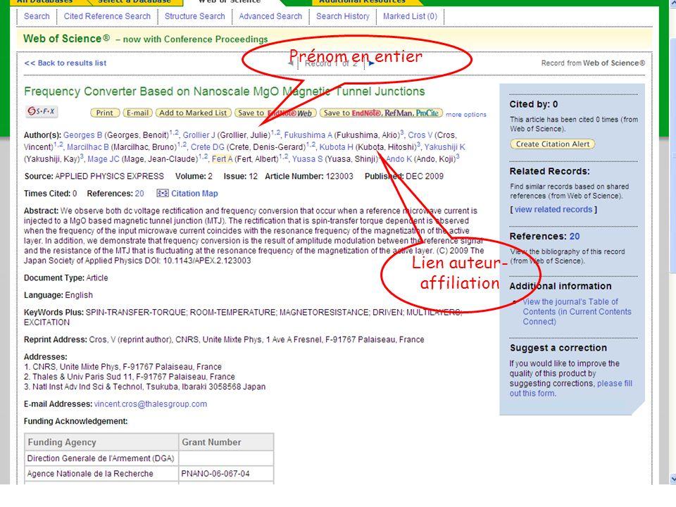 B. Bénichoux - 25 juin 2010121 Prénom en entier Lien auteur- affiliation