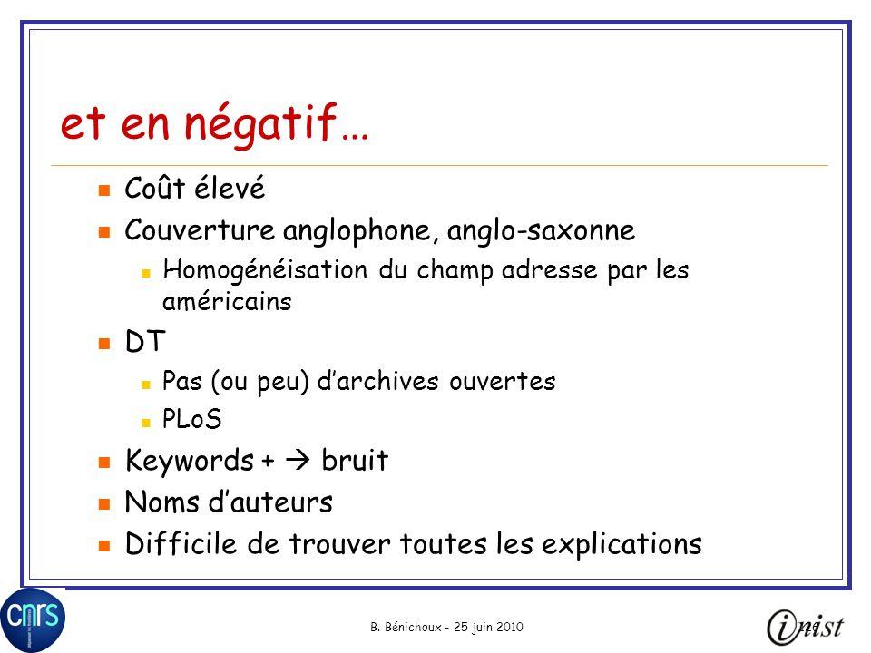 B. Bénichoux - 25 juin 2010126 et en négatif… Coût élevé Couverture anglophone, anglo-saxonne Homogénéisation du champ adresse par les américains DT P