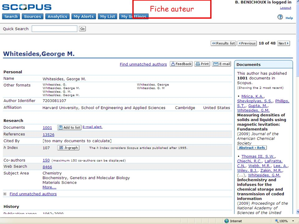 B. Bénichoux - 25 juin 2010131 Fiche auteur