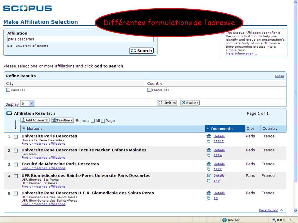 B. Bénichoux - 25 juin 2010132 Différentes formulations de ladresse