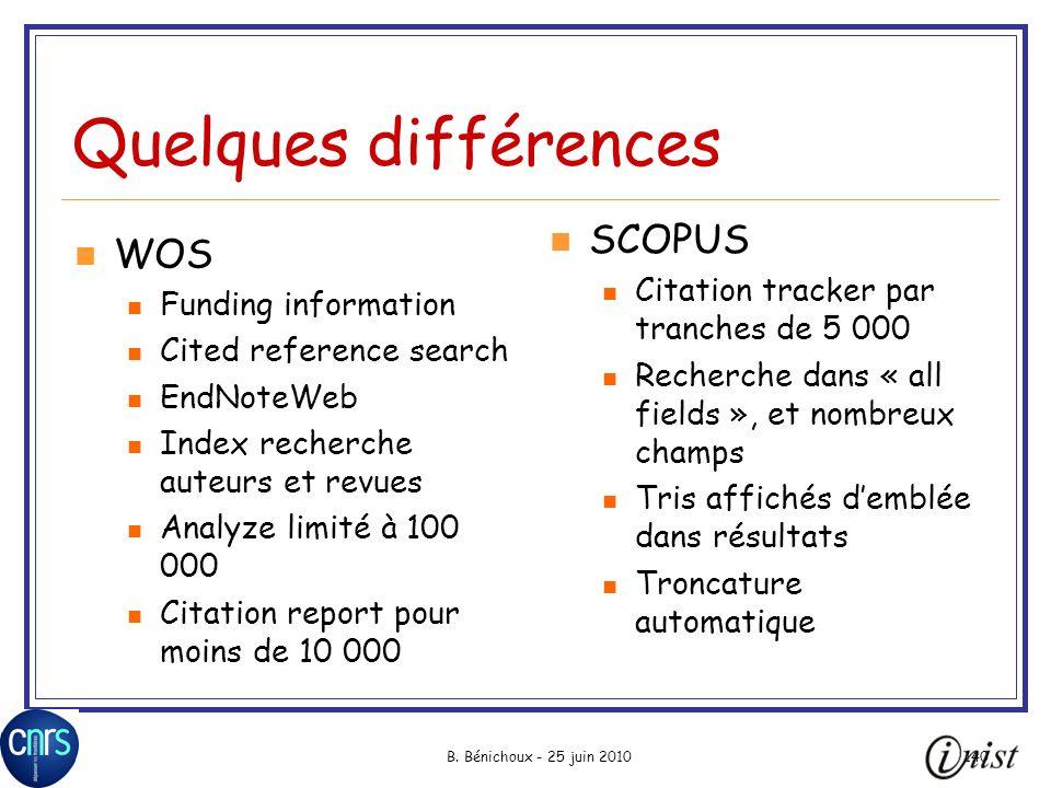 B. Bénichoux - 25 juin 2010140 Quelques différences WOS Funding information Cited reference search EndNoteWeb Index recherche auteurs et revues Analyz