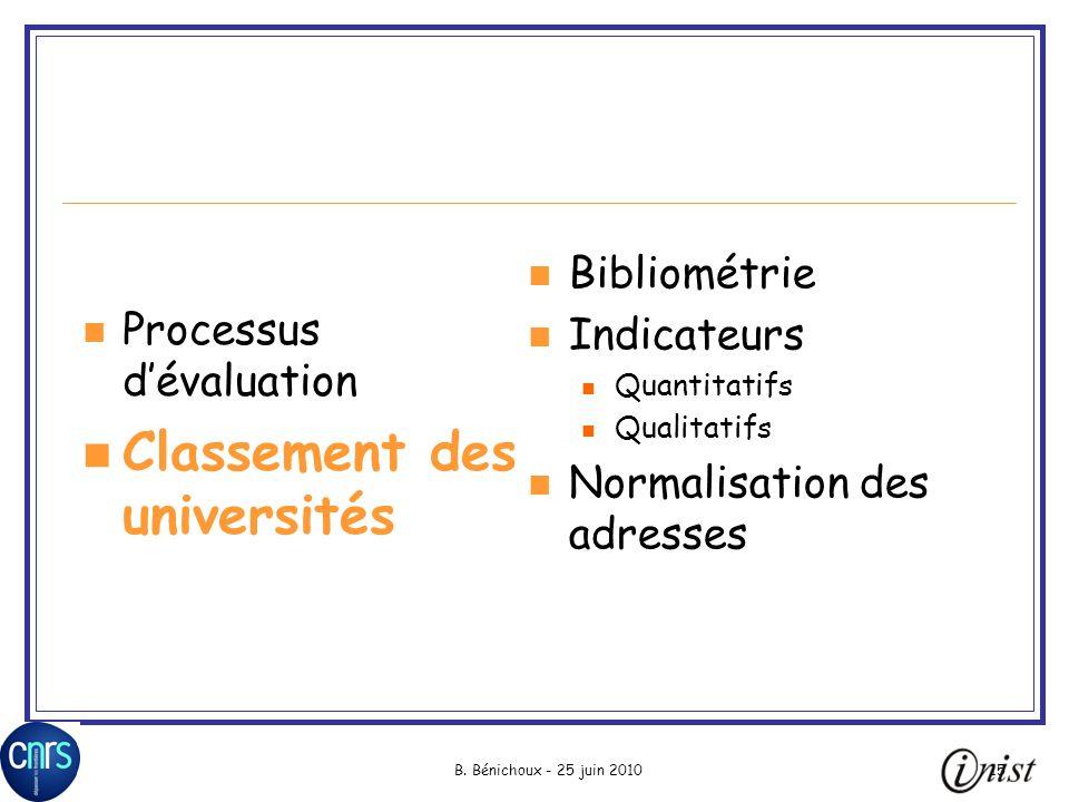 B. Bénichoux - 25 juin 201015 Processus dévaluation Classement des universités Bibliométrie Indicateurs Quantitatifs Qualitatifs Normalisation des adr