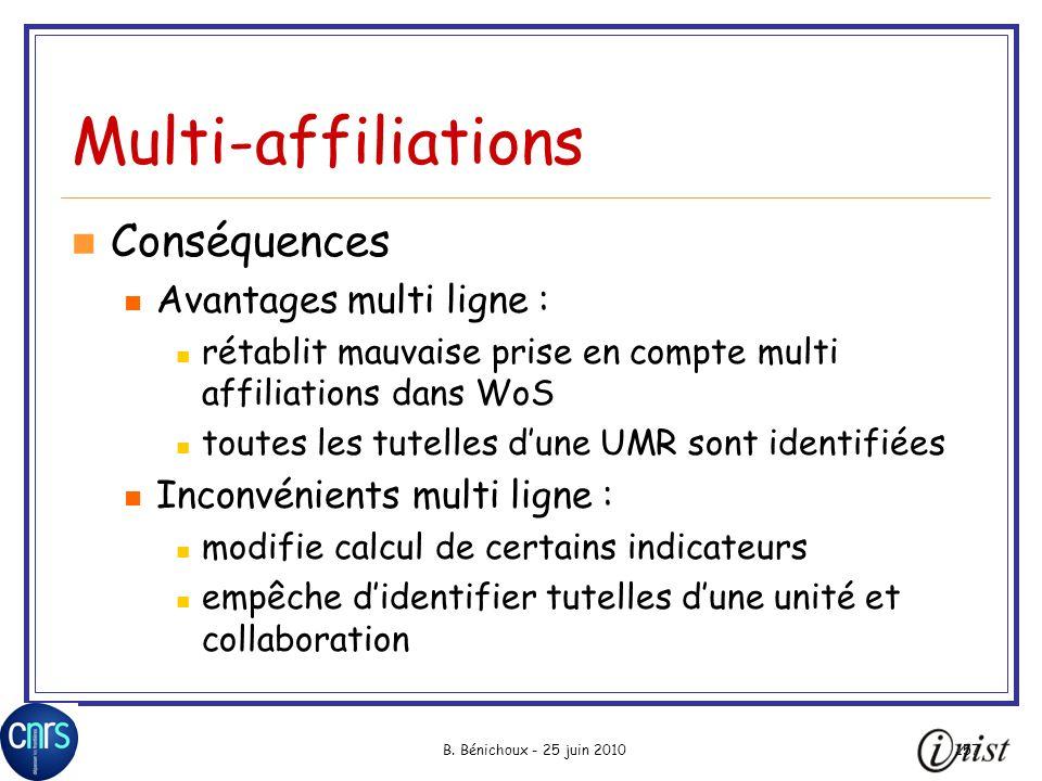 B. Bénichoux - 25 juin 2010157 Multi-affiliations Conséquences Avantages multi ligne : rétablit mauvaise prise en compte multi affiliations dans WoS t