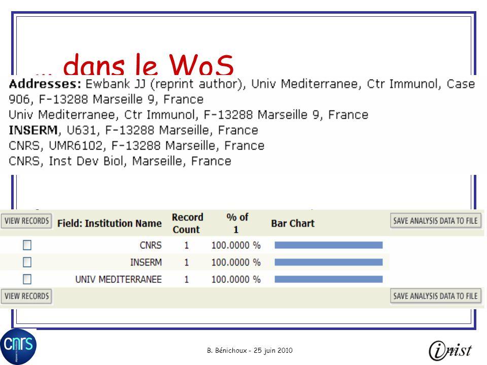 B. Bénichoux - 25 juin 2010159 … dans le WoS
