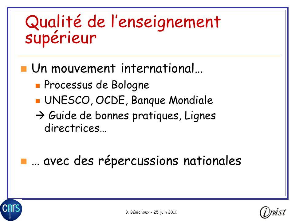 B. Bénichoux - 25 juin 201016 Qualité de lenseignement supérieur Un mouvement international… Processus de Bologne UNESCO, OCDE, Banque Mondiale Guide
