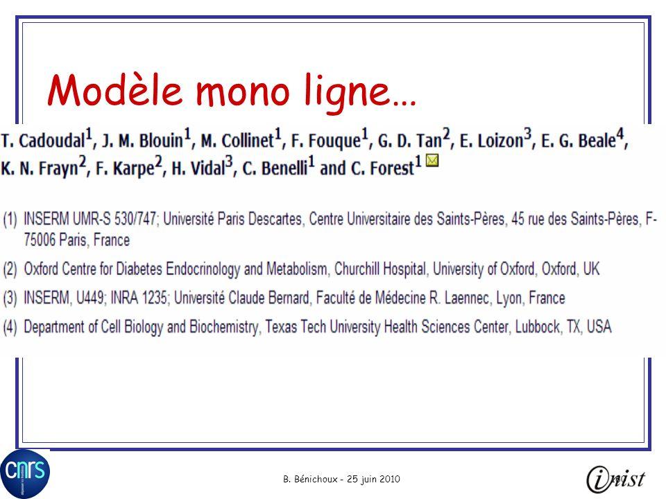 B. Bénichoux - 25 juin 2010160 Modèle mono ligne…