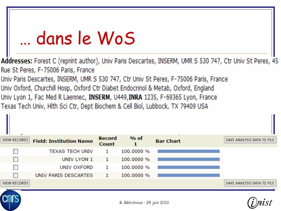 B. Bénichoux - 25 juin 2010161 … dans le WoS
