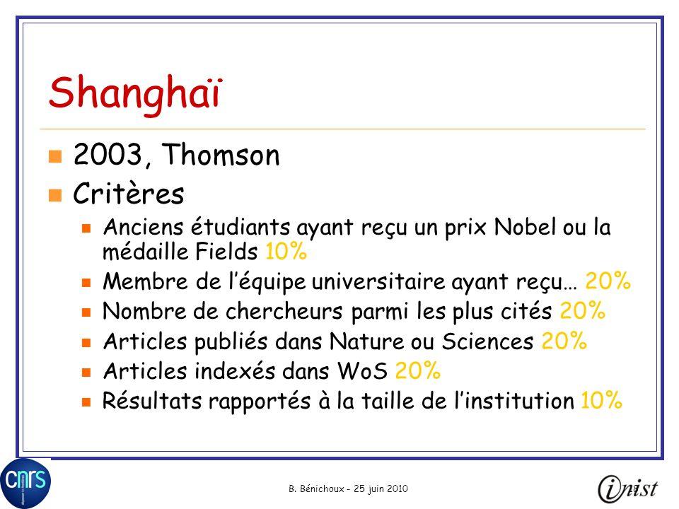B. Bénichoux - 25 juin 201018 Shanghaï 2003, Thomson Critères Anciens étudiants ayant reçu un prix Nobel ou la médaille Fields 10% Membre de léquipe u