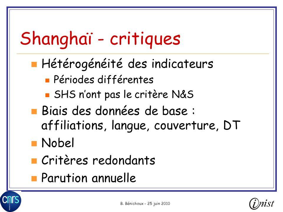 B. Bénichoux - 25 juin 201021 Shanghaï - critiques Hétérogénéité des indicateurs Périodes différentes SHS nont pas le critère N&S Biais des données de