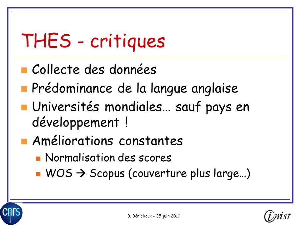 B. Bénichoux - 25 juin 201025 THES - critiques Collecte des données Prédominance de la langue anglaise Universités mondiales… sauf pays en développeme
