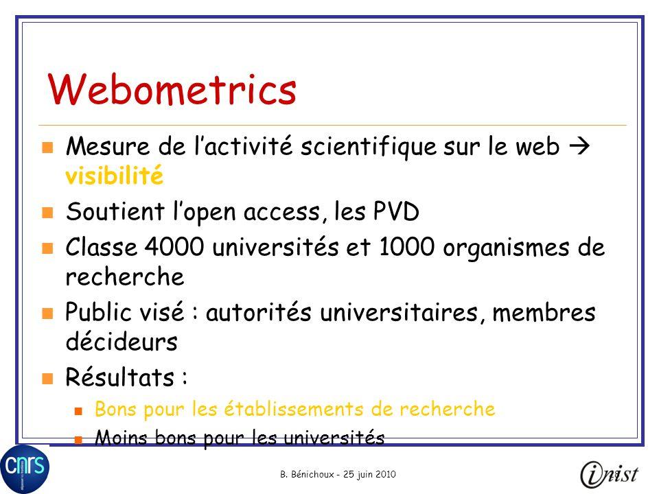 B. Bénichoux - 25 juin 201028 Webometrics Mesure de lactivité scientifique sur le web visibilité Soutient lopen access, les PVD Classe 4000 université