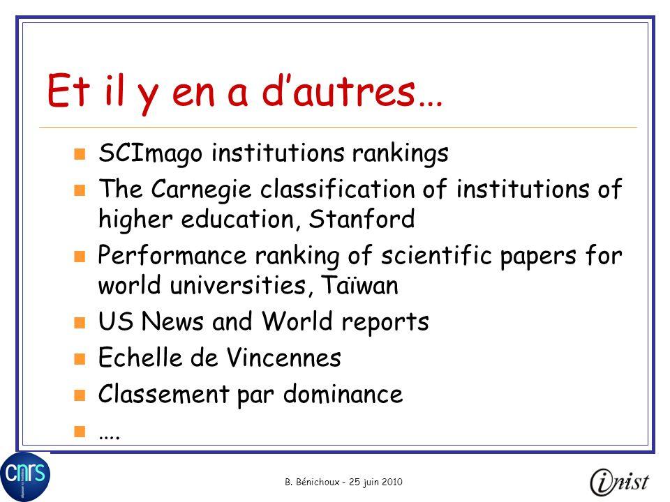 B. Bénichoux - 25 juin 201034 Et il y en a dautres… SCImago institutions rankings The Carnegie classification of institutions of higher education, Sta