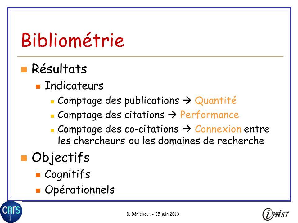 B. Bénichoux - 25 juin 201049 Bibliométrie Résultats Indicateurs Comptage des publications Quantité Comptage des citations Performance Comptage des co