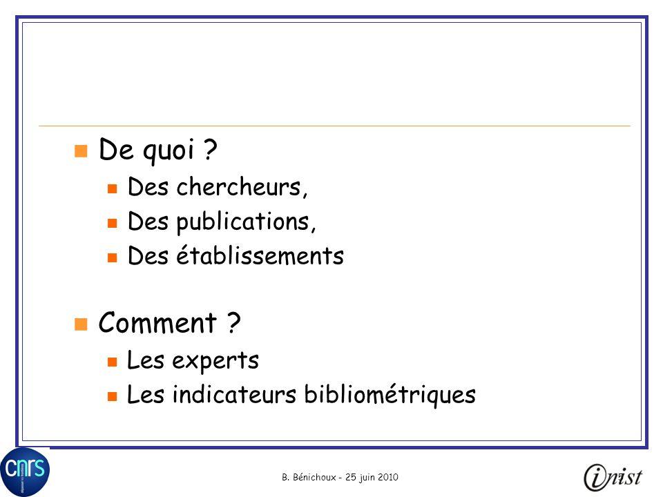 B.Bénichoux - 25 juin 20105 De quoi .