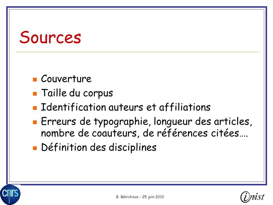 B. Bénichoux - 25 juin 201051 Sources Couverture Taille du corpus Identification auteurs et affiliations Erreurs de typographie, longueur des articles