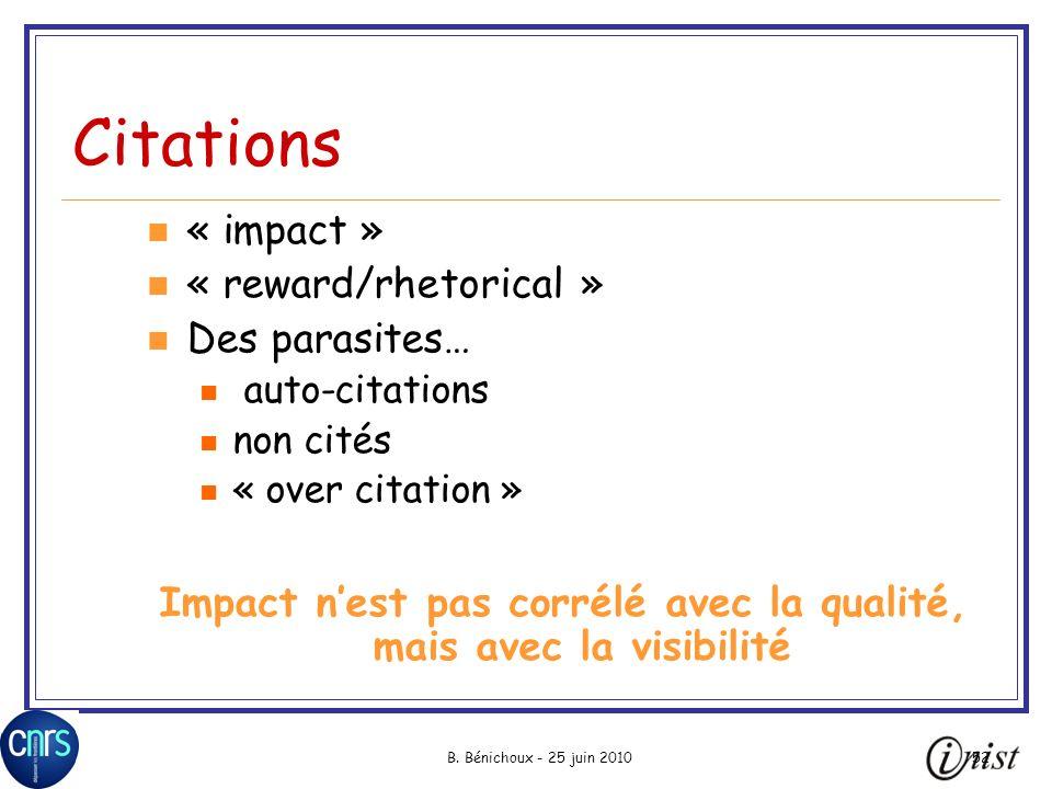 B. Bénichoux - 25 juin 201052 Citations « impact » « reward/rhetorical » Des parasites… auto-citations non cités « over citation » Impact nest pas cor