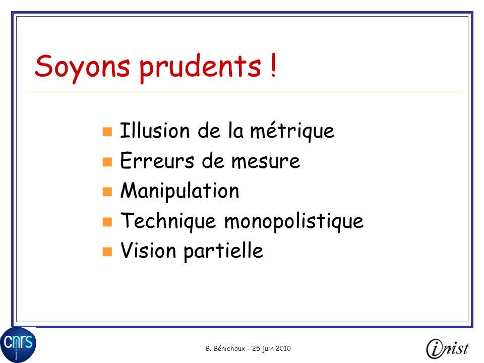 B.Bénichoux - 25 juin 201054 Soyons prudents .