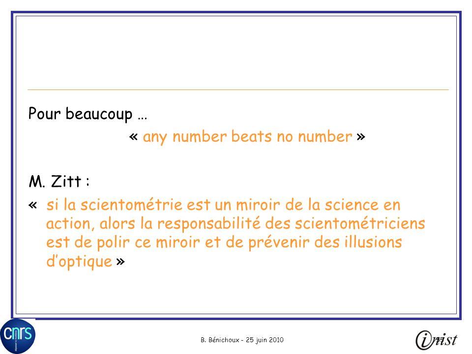 B.Bénichoux - 25 juin 201055 Pour beaucoup … « any number beats no number » M.