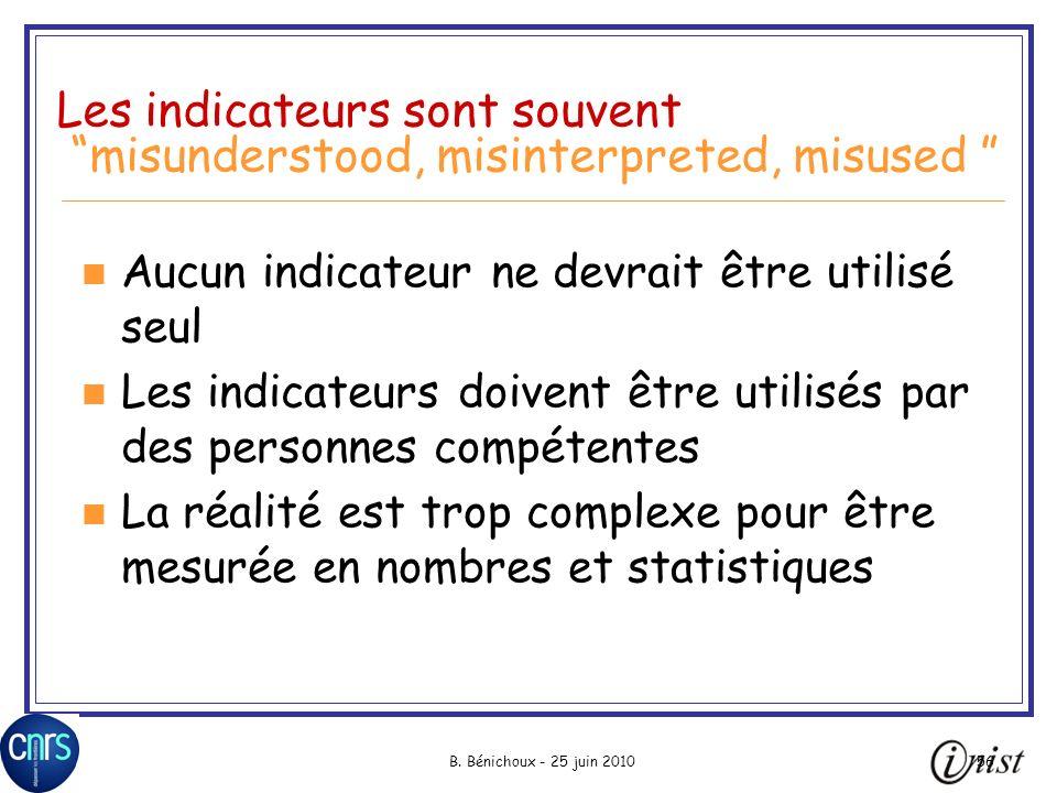 B. Bénichoux - 25 juin 201056 Les indicateurs sont souvent misunderstood, misinterpreted, misused Aucun indicateur ne devrait être utilisé seul Les in