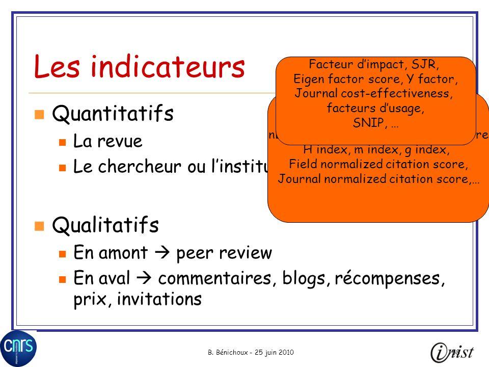 B. Bénichoux - 25 juin 201058 Les indicateurs Quantitatifs La revue Le chercheur ou linstitution Qualitatifs En amont peer review En aval commentaires