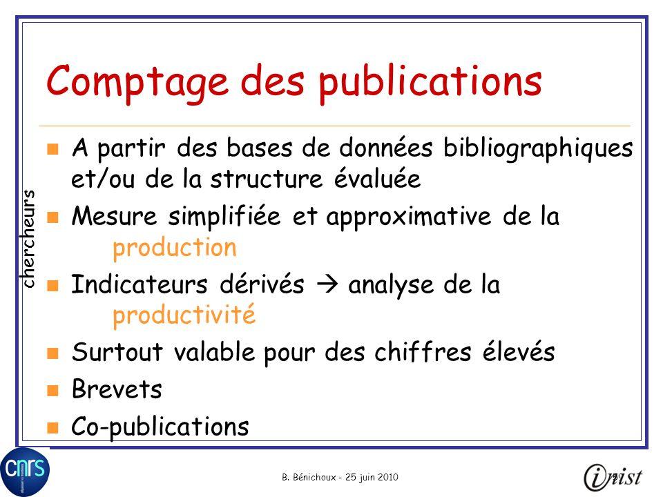 B. Bénichoux - 25 juin 201059 Comptage des publications A partir des bases de données bibliographiques et/ou de la structure évaluée Mesure simplifiée