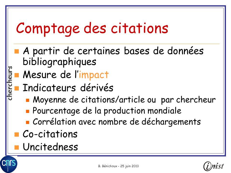B. Bénichoux - 25 juin 201060 Comptage des citations A partir de certaines bases de données bibliographiques Mesure de limpact Indicateurs dérivés Moy