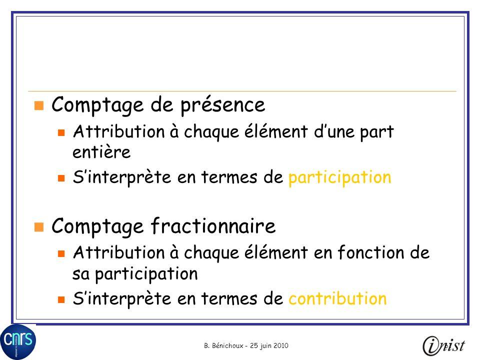 B. Bénichoux - 25 juin 201061 Comptage de présence Attribution à chaque élément dune part entière Sinterprète en termes de participation Comptage frac